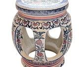 Vintage Handpainted Colorful Open Ceramic Garden Stool