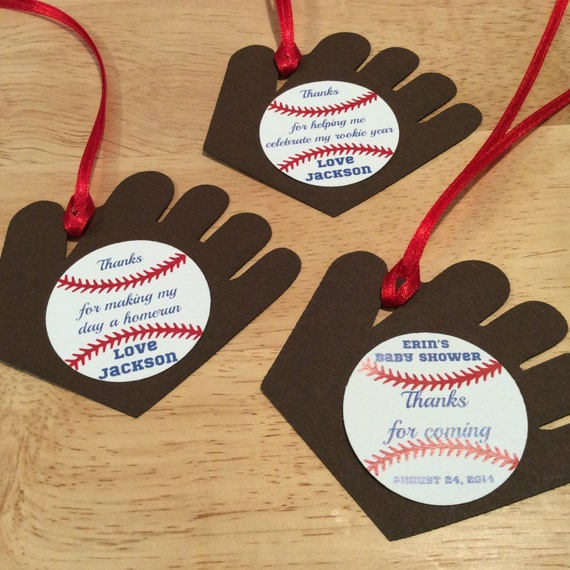 Baseball Favor Tag Set Of 12 Baseball Baby Shower