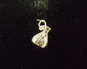 Sterling Silver Money Bag 3-D Charm  - .925  3.0 grams