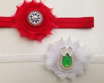 Set of two baby headbands..newborn white and red headbands
