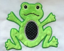 Fred the Frog Applique -  Machine Embroidery  for the 4x4 and 5x7 hoop - Vp3. Vip, Pes, Hus, Exp,  DST,  XXX & Jef formats.