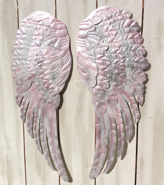 Large metal angel wings wall decor distressed silver white for Angel wall decoration