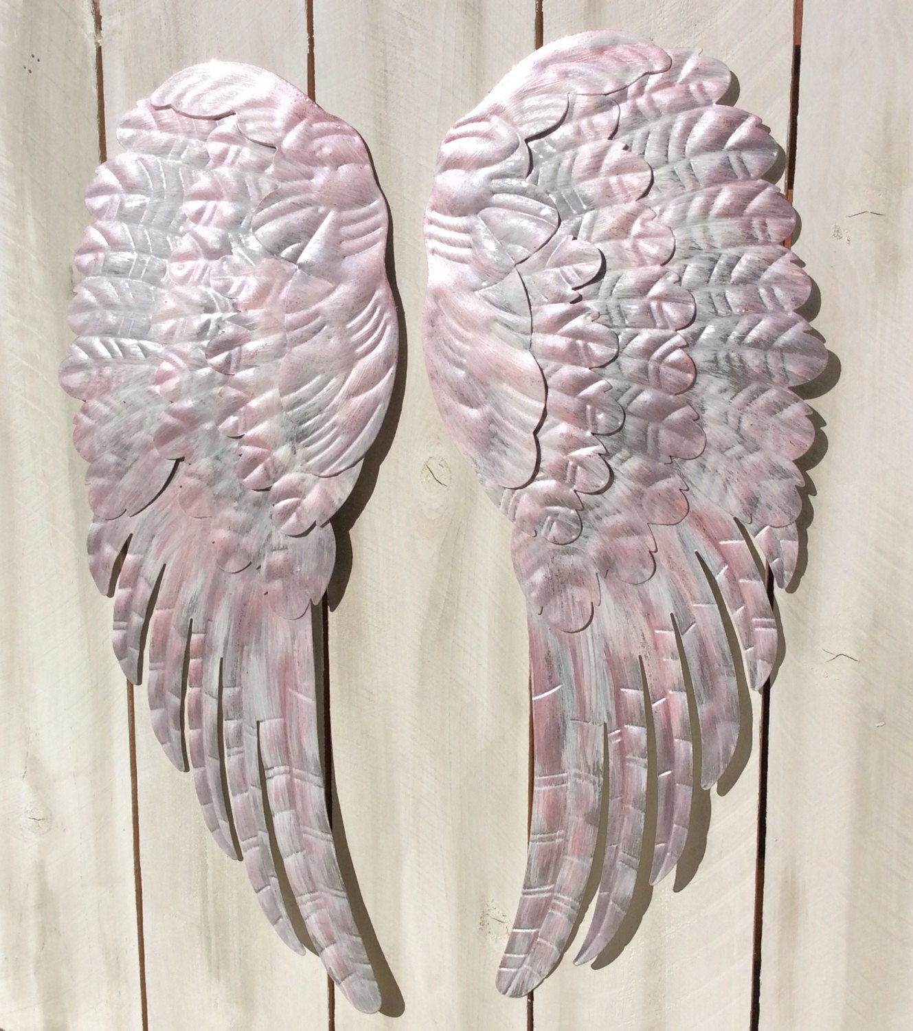 Large metal angel wings wall decor distressed silver white for Angel wings wall decoration