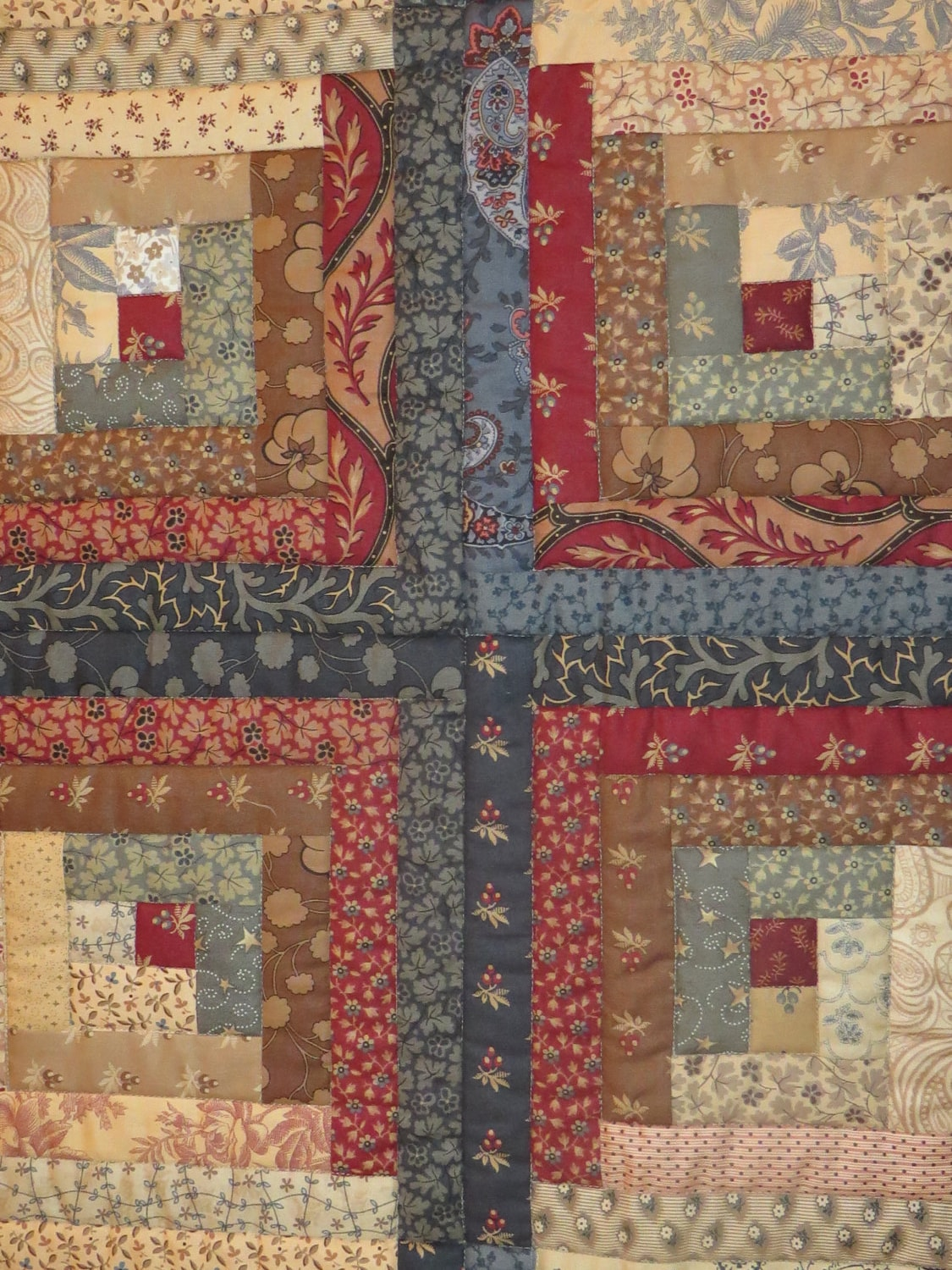 Warm And Captivating Log Cabin Quilt In Red Blue Cream And