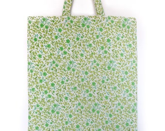 Reversible Green and Yellow Floral Print Tote Bag