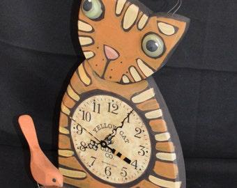 Whimsical Wooden Folk Art Cat Clock