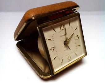 Vintage German Europa travel alarm clock, leather case travel alarm clock, 1960s