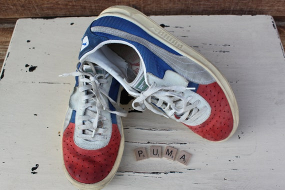vintage leather tennis shoes patriotic suede by