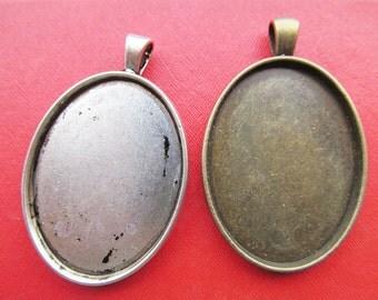 30x40mm Pendant Tray, Bezel Setting, 30x40mm Cabochon Tray - Antique Bronze,Antique Silver