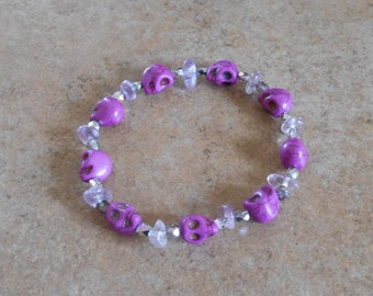 Crystal Skull Amethyst Bracelet