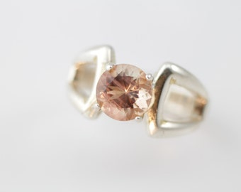 Oregon Sunstone Ring in Sterling Silver With Very Unique Peachy Sunstone