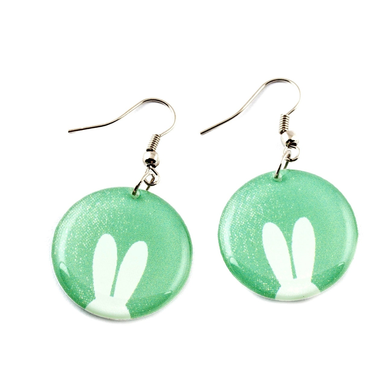 bunny earrings bunny ears earrings print earrings by zizaccessories 4377