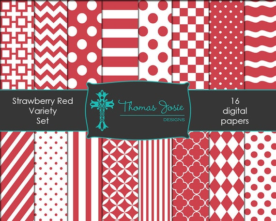 Strawberry Red Digital Paper Backgrounds Striped Digital Polka Dot Digital Chevron Digital Quatrefoil Pattern 8.5 x 11 - Instant Download