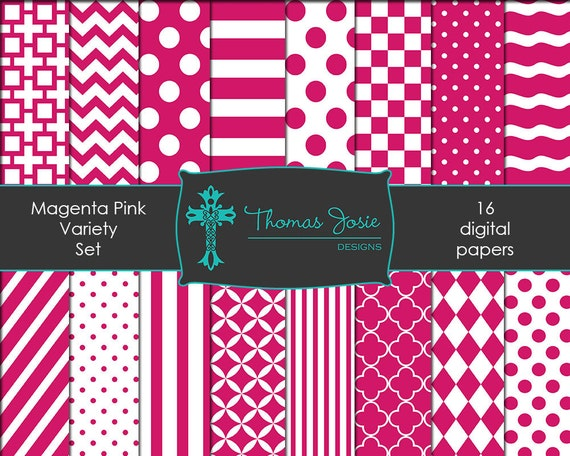 Magenta Pink Digital Paper Backgrounds Striped Digital  Polka Dot Digital Chevron Digital Quatrefoil Party Paper 8.5 x 11 - Instant Download