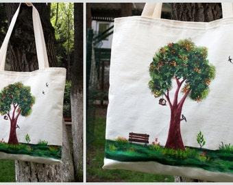 Tree Pattern-Handmade-Fabric Paint Tote Bag