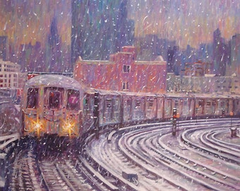Winter Snow, 7 Train, - fine art giclée print of an original Impressionist painting by Robert Padovano