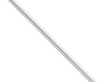 Sterling Silver 2 mm Thick Polished Round Snake Necklace Chain Spring Ring Clasp 18 inches CKLQSNL060-18