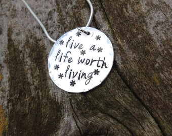A Wedding Gift By Guy De Maupassant Analysis Suggestions : Live a life worth living hand stamped necklace! Inspirational gift!