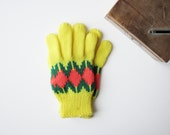 Vintage Kids Gloves ITALIAN VINTAGE 70's / kids / mittens / new old stock / vintage pattern / size M / new old stock