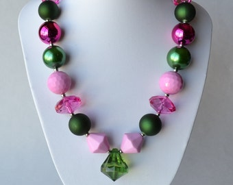 Pink & Green CHUNKY necklace with acrylic beads, tiger tail stringing, and metal toggle clasp