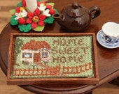 Dollhouse tray cloth KIT in needlepoint , 'Cottage' – 32 count silk gauze, tray (as kit) is 1.9 wide x 1.4 deep x 0.15 inches high