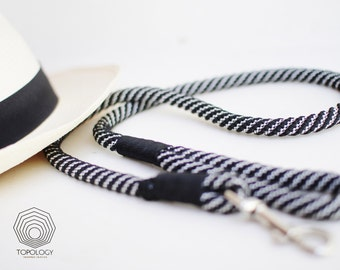 Black and White Rope dog leash. Handmade Stylish 12mm thick rope leash whipped with black cord. Ideal for large canines.