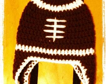 Crochet Newborn Football Earflap Beanie