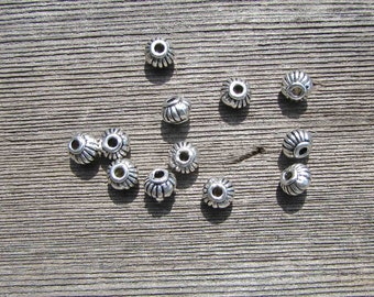 4mm x 5mm Spacer Beads. Antique Silver Finish Beads. Quality Beads. Small Spacer Beads.