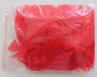 """10g (0.35Oz) red 3~4"""" turkey plumage feathers 80~120 counts, for crafting, sewing, etc, SKU: 7G22"""