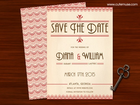 art deco save the date diy printable customizable colors by cute