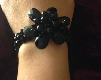 Handmade Black Crystal Flower Bracelet