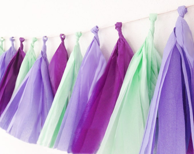 Tissue tassel garland in plum, lavender, and mint, Tissue paper tassel, Birthday, wedding, Purple and Mint tassels, Baby shower