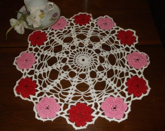 Vintage Mid Century Hand Crocheted Doily with Pink & Red Roses.  Cottage Chic!  Excellent Condition