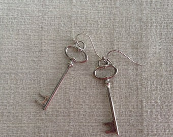 Antiqued Silver Skeleton Key Earrings