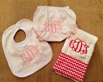 Monogrammed baby bib burp set