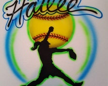 custom airbrushed t-shirt softball pitcher airbrush with any name fastpitch