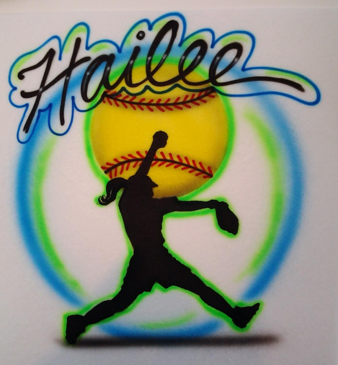 Softball pitcher custom airbrushed t shirt airbrush with any for Custom made airbrushed shirts