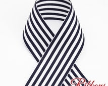 Navy & White Grosgrain Candy Stripe Ribbon - Select Width and Length - Schiff Ribbons