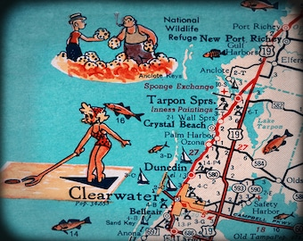 Fine art Map print Tarpon Springs Clearwater beach retro vintage turquoise photo of Florida West Coast Dunedin Crystal Beach Moving gift