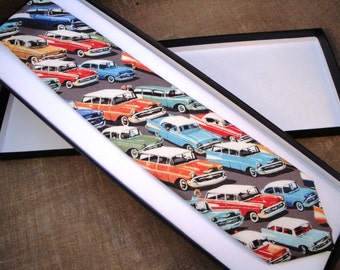 American cars cotton print neck tie
