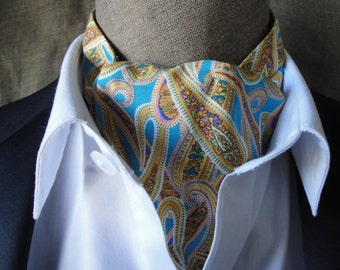 Paisley turquoise cravat.  one size fits all.