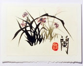 Wild Orchid Chinese Painting Original Sumi Ink Art, Blank Greeting Card & Envelope