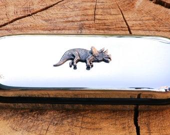 Dinosaur Metal Pen Case & Ball Point Set Personalised Engraved Gift