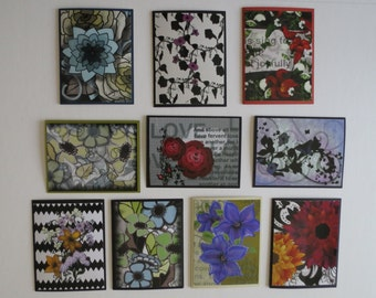 Handmade card assortment of 10 different  prints of my original floral and graphic paintings , blank inside.