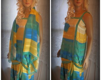 Vintage dress, Womens dress, Summer dress, Evening dress, Long dress, Dress with scarf, Blue Rose Dress
