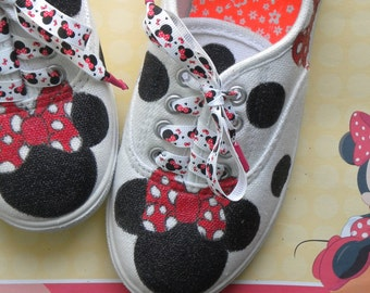 Girls Disney Inspired Minnie Mouse Hand Painted Canvas Sneakers