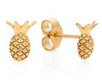 Pineapple Stud Earrings - Gold Vermeil