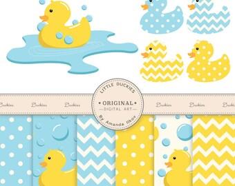 Premium Rubber Duck Clip Art & Digital Paper Set - Rubber Duck Clipart, Duck Digital Paper, Rubber Ducky, Yellow Duckie, Yellow Duck, Ducks