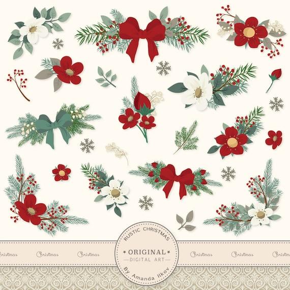 premium large rustic pine floral clip art  vectors christmas, Beautiful flower
