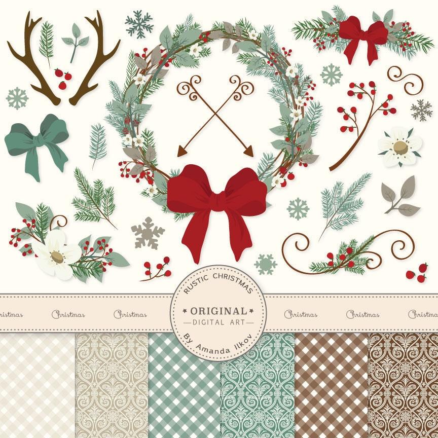 Premium Rustic Christmas Clip Art & Christmas by AmandaIlkov